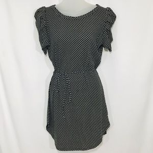 Zara B&W Polka Dot Belted Bubble Sleeve Dress